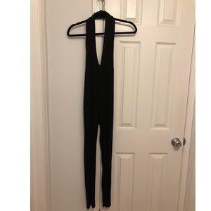Black halter top jumpsuit